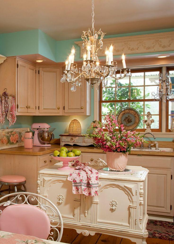 Shabby chic kitchen with crystal chandelier