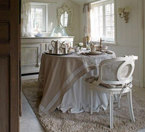 Shabby chic kitchen with fluffy rug