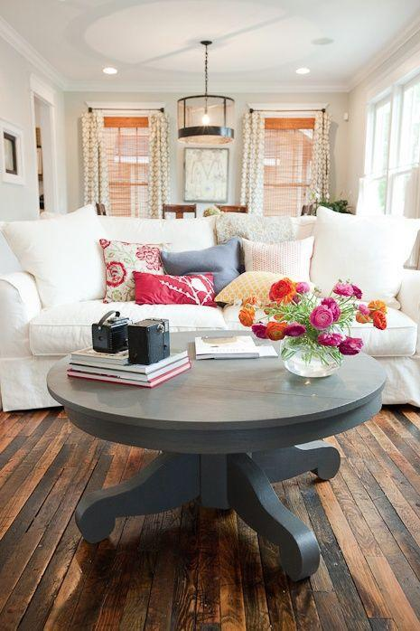 Shabby chic living room with comfortable white sofa