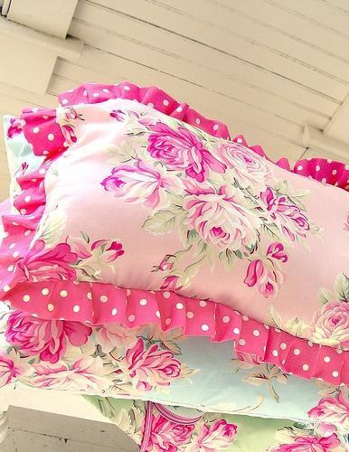 Shabby chic pillow in vivid pink color