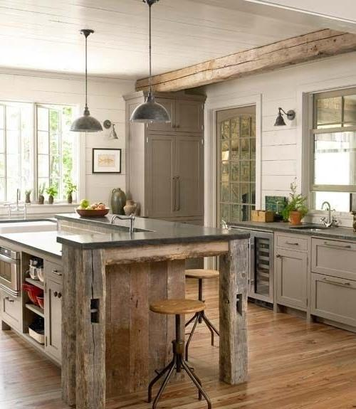 Small Cottage Kitchen With Modern Pendants