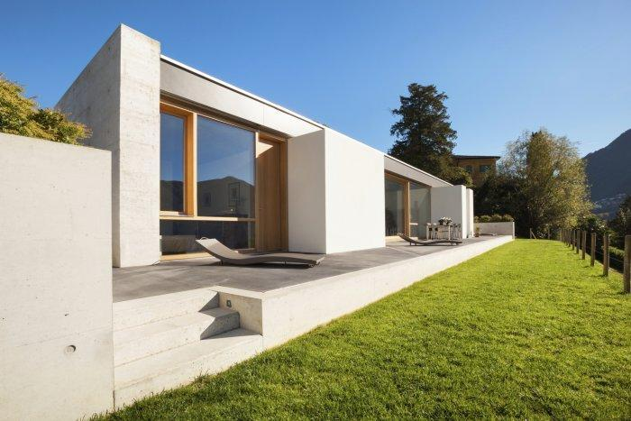 Small house with contemporary outdoor areas