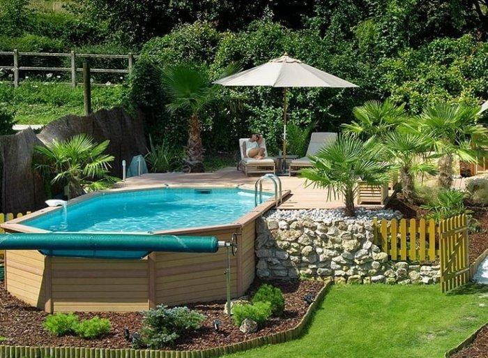 Small outdoor pool with wooden deck