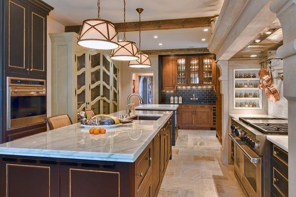 Traditional kitchen with classic pendants