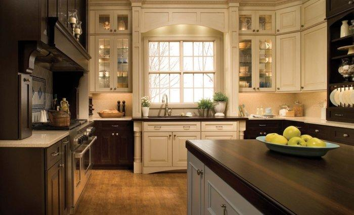 Traditional kitchen with decorative cabinet door insets