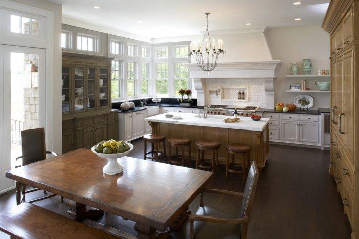 Traditional kitchen with dining table