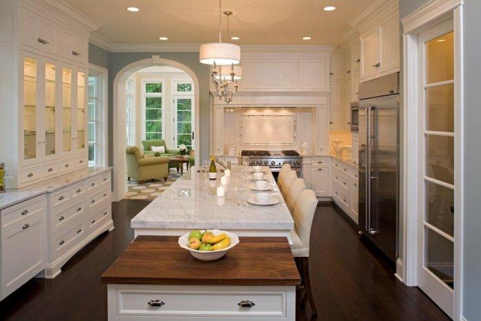 Traditional kitchen with hutch-style cabinets
