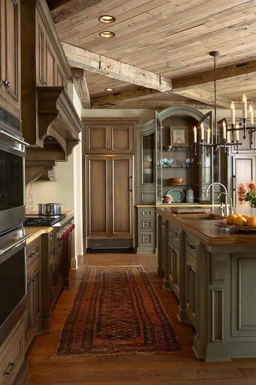 Traditional rustic kitchen with massive cabinets