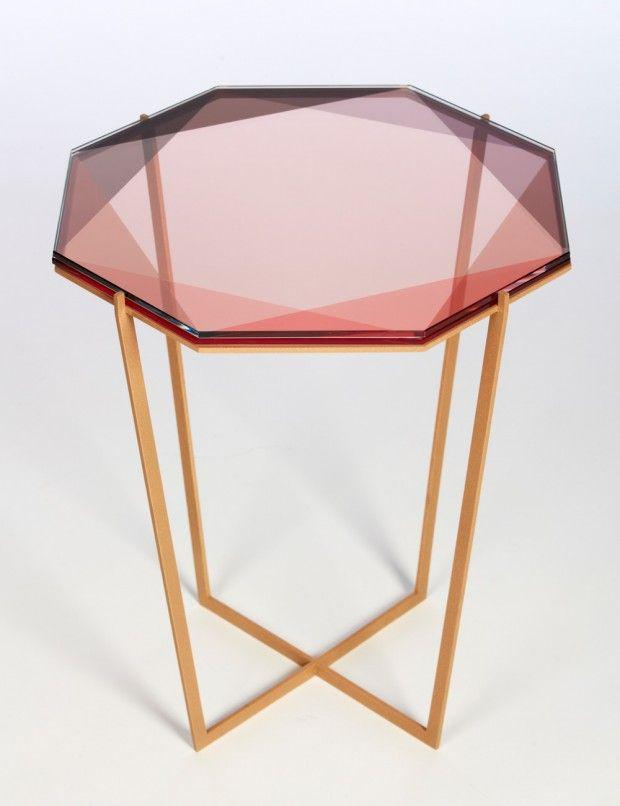 Unique glass table made of pink glass