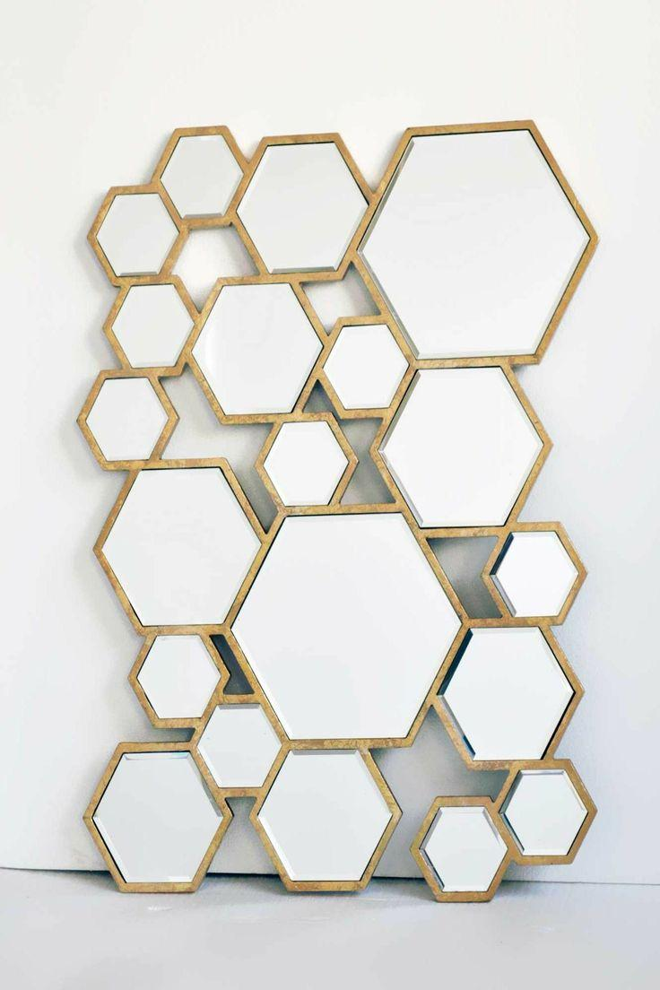 Unique mirror looking like a honeycomb
