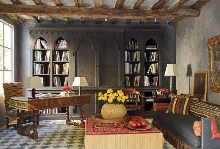 Victorian Gothic home library with arched bookshelves