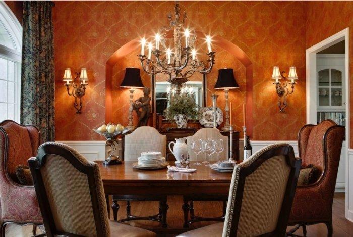 Victorian dining room in classic orange