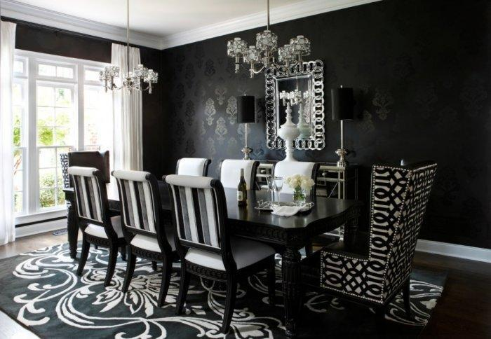 Victorian Gothic Dining Room In Black Color