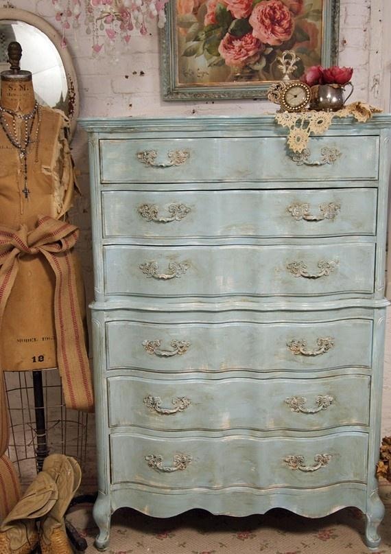 Vintage chest of drawers in a shabby chic closet