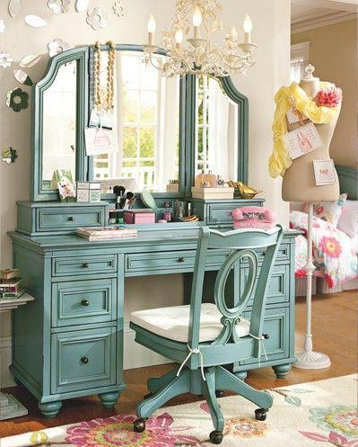Vintage makeup vanity in a shabby chic closet