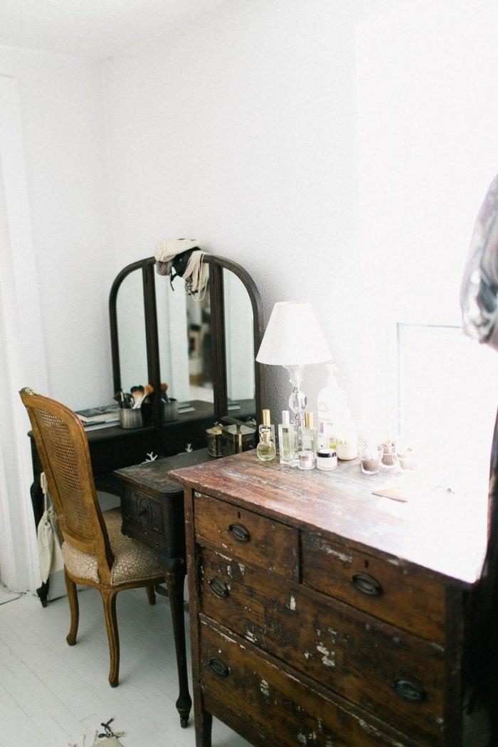 Vintage powder dressing table - and an old chest of drawers