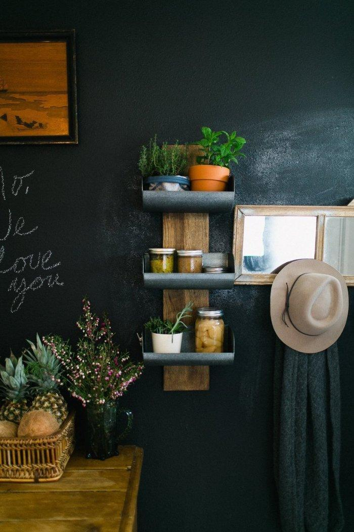 Vintage shelves used for decorations on the wall