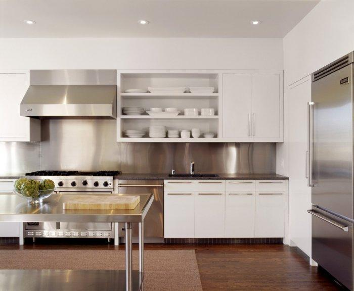 White cabinets and modern kitchen appliances