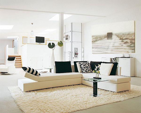 White corner sofa in a modern elegant home