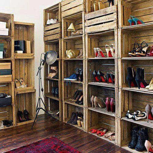 Wooden shelves inside a bedroom closet