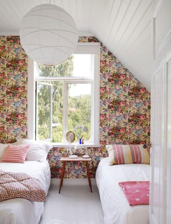 American attic bedroom - with colorful wallpapers