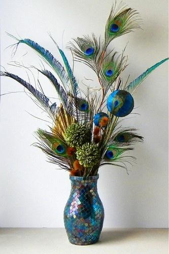 Blue decorative vase - with flowers and peacock feathers
