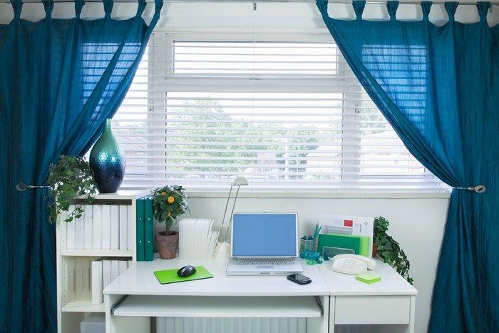 Blue home office - with simple white desk