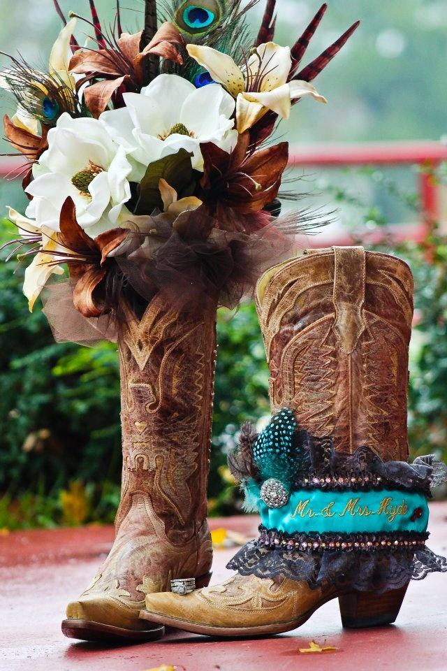 Boots and flowers - they can be placed inside or outside