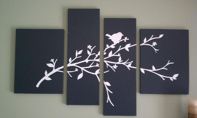 Cherry blossom wall art - made of 4 separate paintings