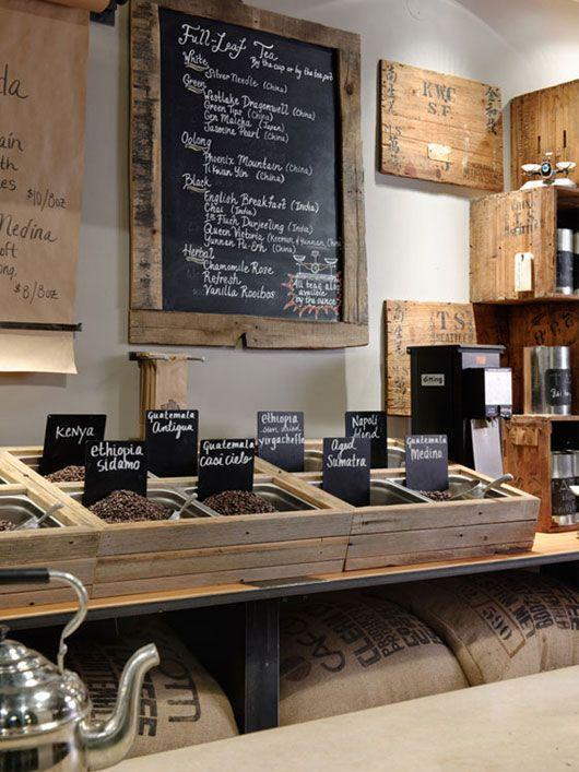 Coffe shop in USA - with sergice area full of coffee beans