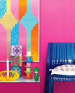 Colorful graphic walls in various vivid colors