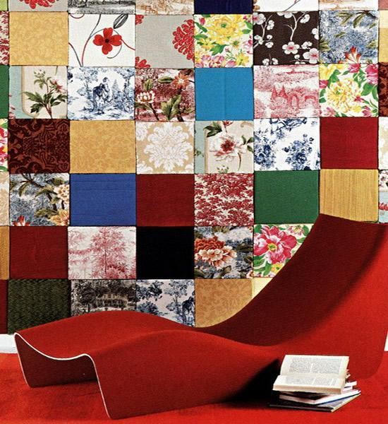 Colorful room with elegant modern lounge chair and funny wallpapers