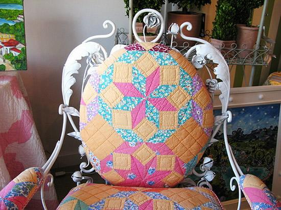 Colorful traditional chair with beautiful ornaments and interesting upholstery