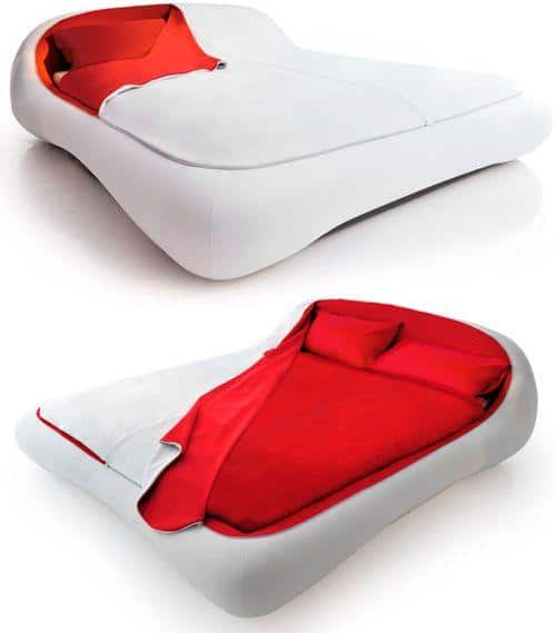 Contemporary Italian bed - in white and red vivid colors
