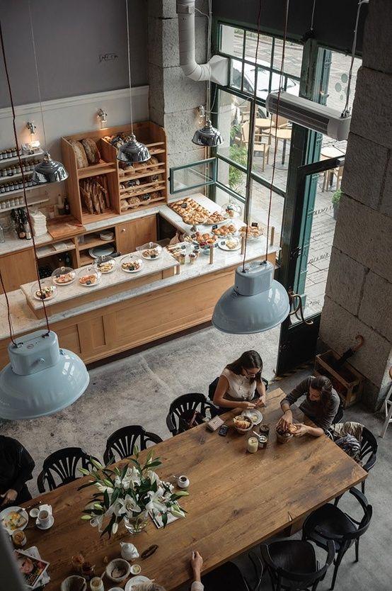 contemporary cafe with vintage pendants - Contemporary Cafe Interior