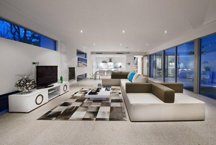Contemporary interior with open plan structure