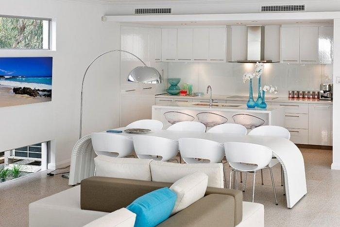Contemporary kitchen with modern dining furniture