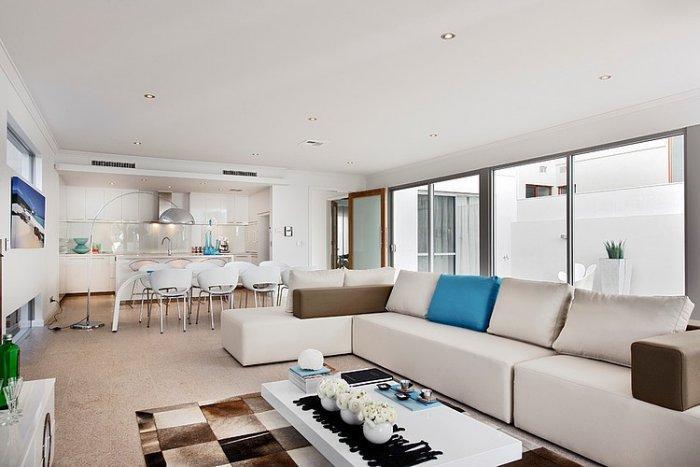 Contemporary living room with white interior design