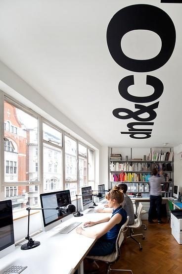 Contemporary working space with creative writing on the ceiling
