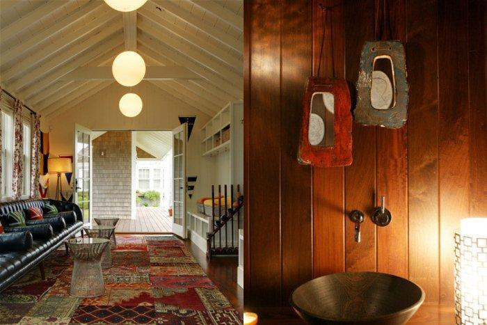 Cottage interior - with rustic walls and modern pendants