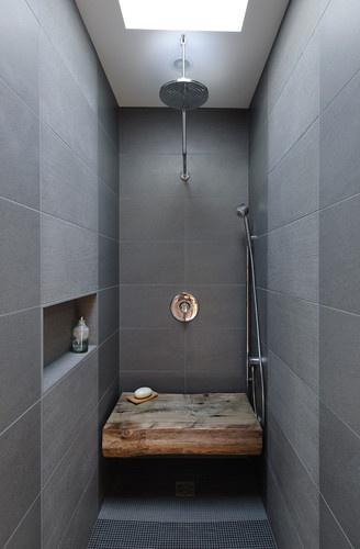 Cramped bathroom in grey color