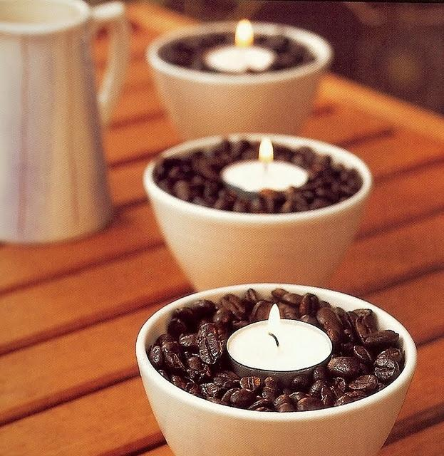 Creative coffee candleholders with little candles for a romantic interior