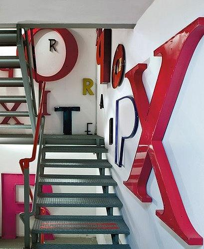 Creative office decorations and stairs leading to the second floor