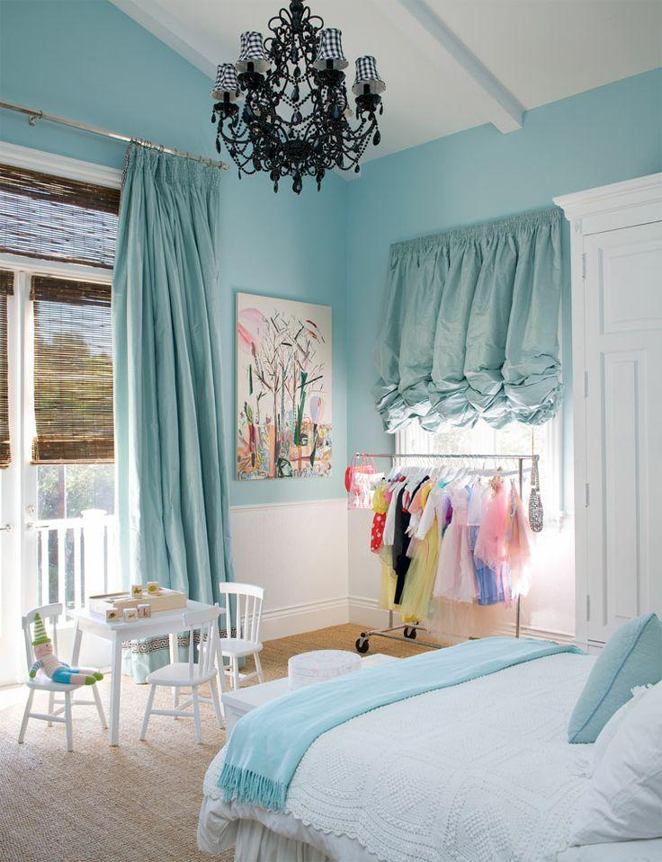 Cyan Teen Bedroom   With Classic Curtains And Chandelier