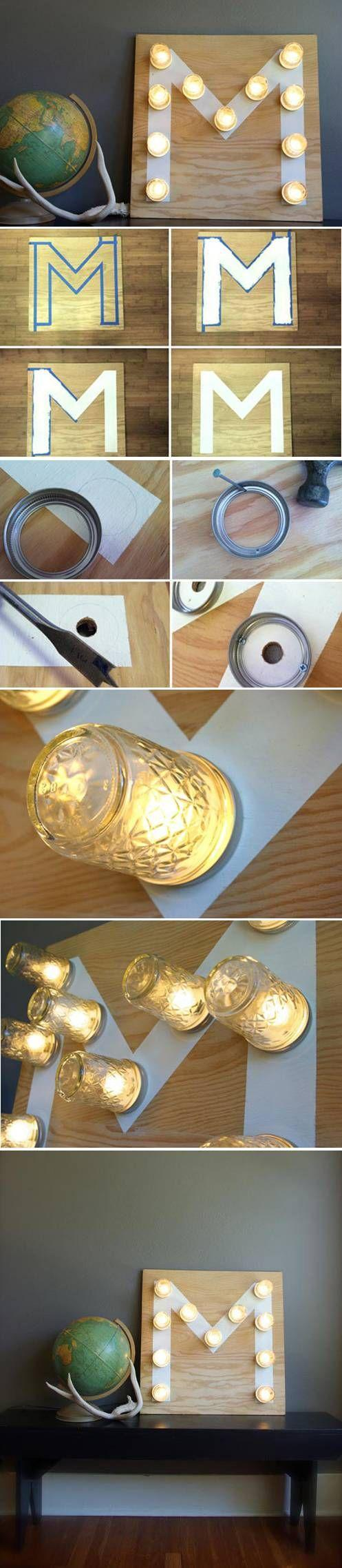 DIY interesting sign - with bulbs and jars