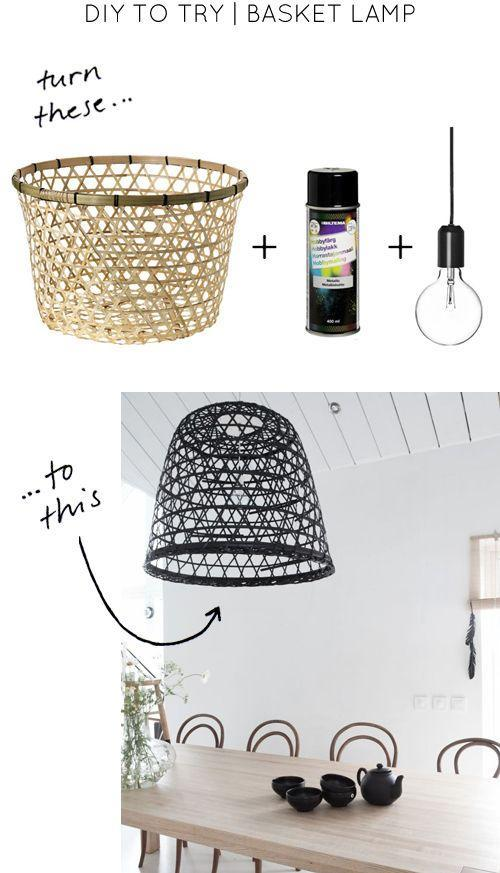 DIY lamp - with bulb and basket