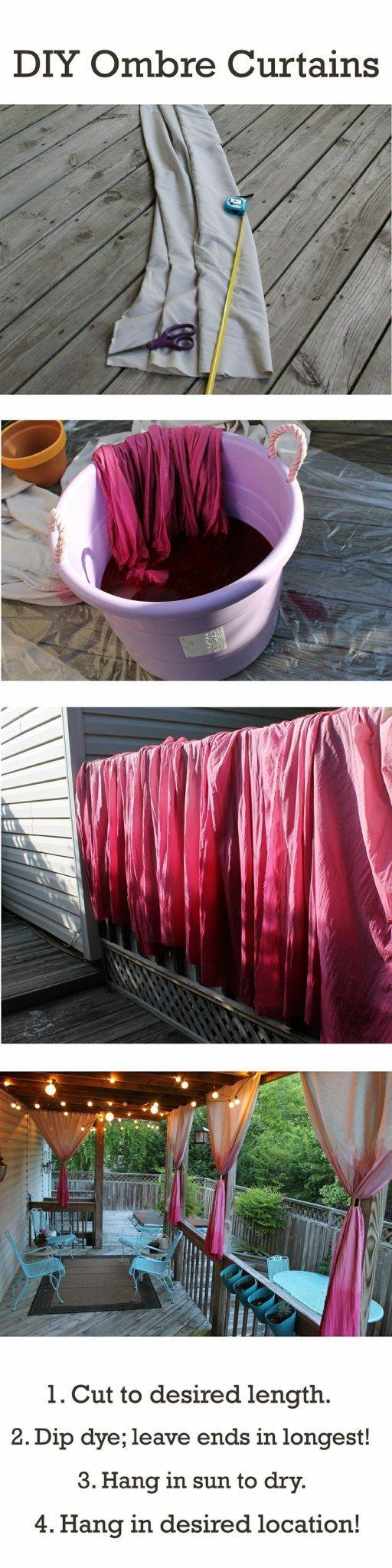 DIY ombre surtains - with fabric and paint
