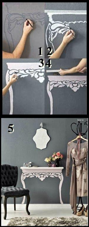 DIY wall decal - with brush and paint
