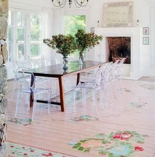Dining room - with flower patterned floor