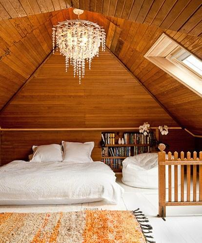 Eclectic attic bedroom - with crystal chandelier